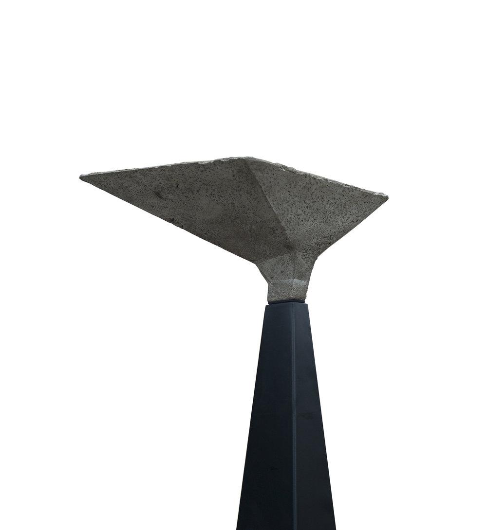 "Cement, Steel Lamp base: 2 1/2"" (top W) x 20 1/4"" (base W) x 5'4 H"