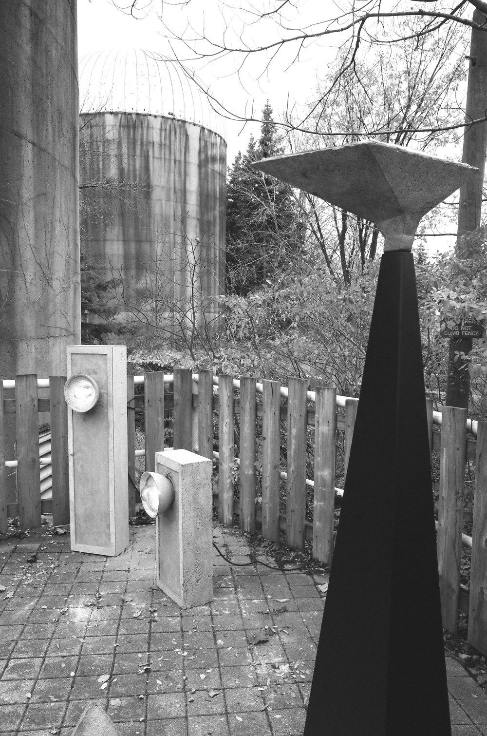 SHADOK concrete & steel floor lamp sculpture