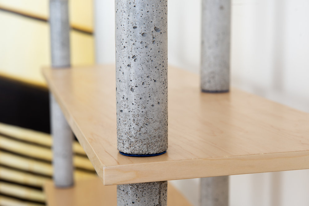 Concrete bookcase pillars