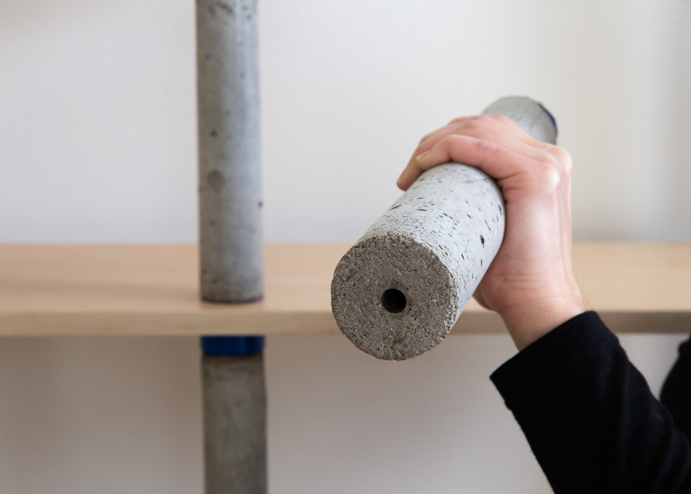Concrete bookcase pillar