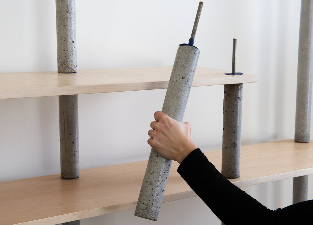 Concrete bookcase pillar - easy assembly
