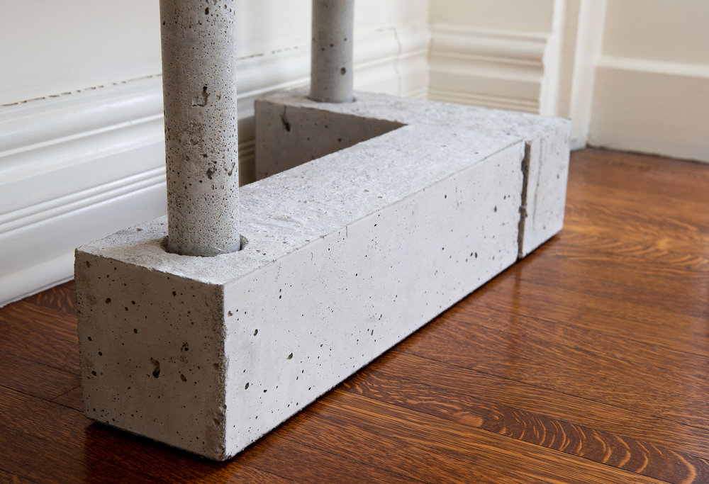 Concrete bookcase base - wabi sabi