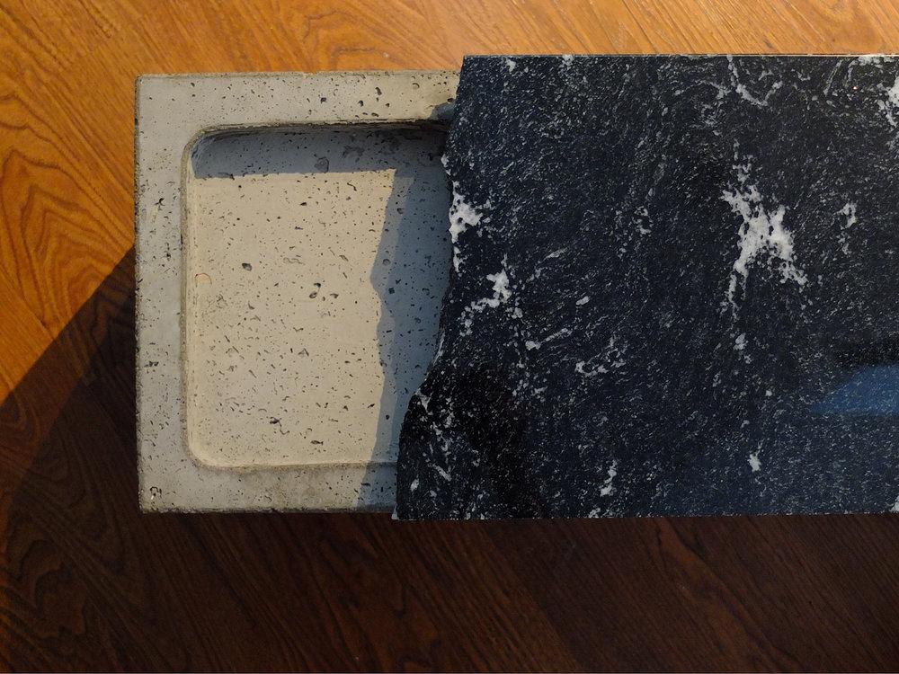 CUTUCATICO concrete and granite bench
