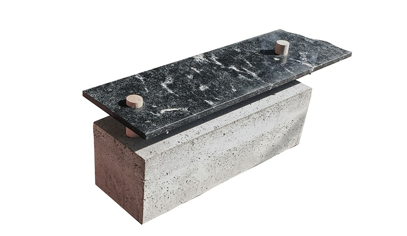 Concrete granite and maple designer bench