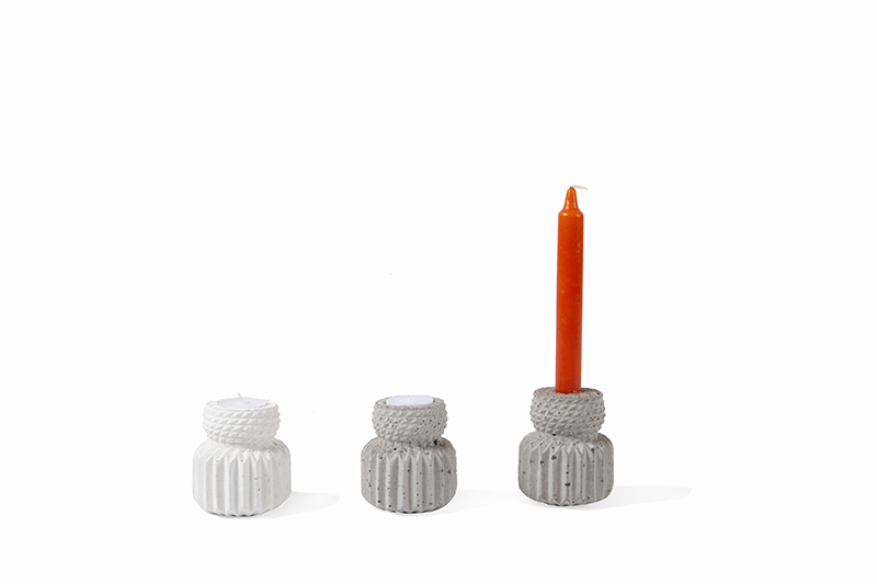 KIPIK-concrete-candle-holder-tealight-tapered-candle
