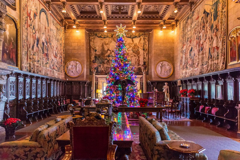 christmas at hearst castle - san simeon, california