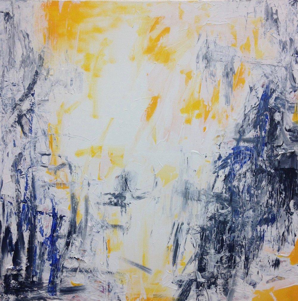 "Radiate   35 x 35"" Acrylic and Mixed media on Canvas $175"