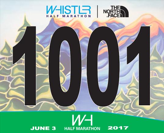 Whistler Half Marathon Race Bib. 2017.