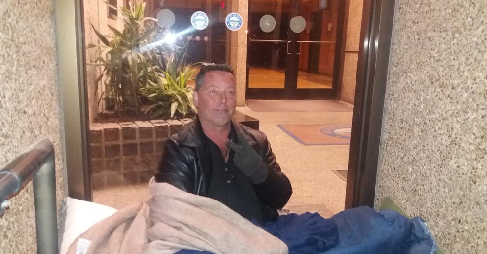 Kip Billups sits at City Hall on Monday night.  Photo by Tom Warren
