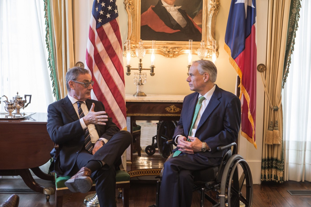 E.U. Ambassador O'Sullivan (LEFT) and Texas Governor Abbott  Photo by Texas Governor's Office