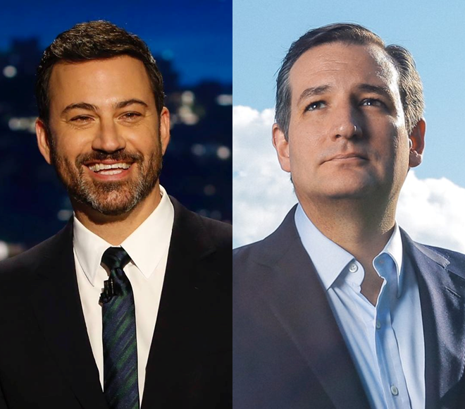 FROM LEFT: Kimmel, Cruz  Photos by ABC, Cruz Campaign