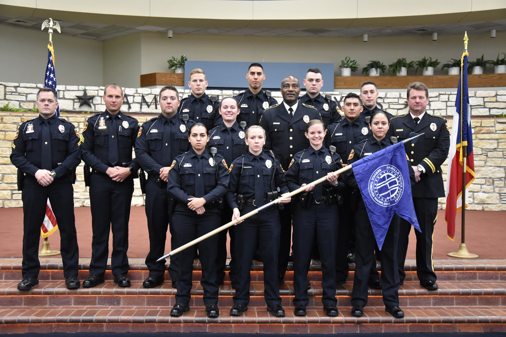 Photo by APD  Amarillo Police Department Crime Scene Investigation Unit- Front row left to right–Ofc. Christina Harrison, Ofc. Shelby Avalos, Ofc. Kristin Zelenevskiy, Ofc. Patricia Moreno  Middle row left to right – Cpl. Casey Ogden, Sgt. Kevin Korinek, Ofc. Gentry Giles, Ofc. Allison Munsell, Chief Ed Drain, Ofc. Alec Martinez, Capt. Jimmy Johnson Back row left to right – Ofc. Morgan Powell, Ofc. Armando Rueda, Ofc. Logan Randolph, Ofc. Vandan Bernal