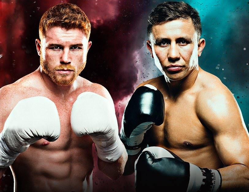 Canelo Alvarez (RIGHT) and Gennady Golovkin on promotional artwork for the 2017 fight  Photo by Golden Boy Boxing