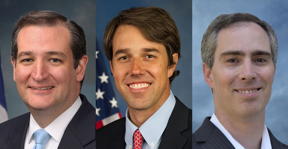 Cruz, O'Rourke, Dikeman  Photos by U.S. Congress, Dikeman Campaign