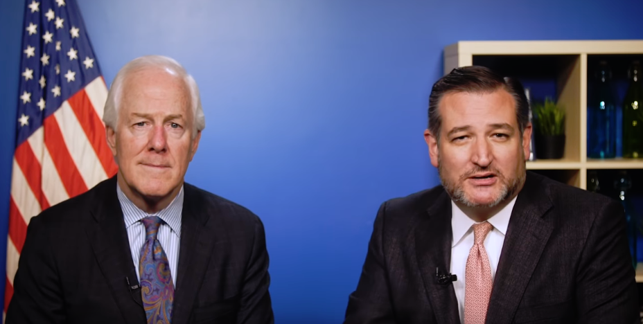 Cornyn (LEFT) with Cruz (RIGHT) during a campaign video  Photo by Cruz Campaign