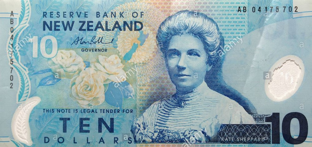 Kate sheppard portrayed on the New Zealand ten dollar note