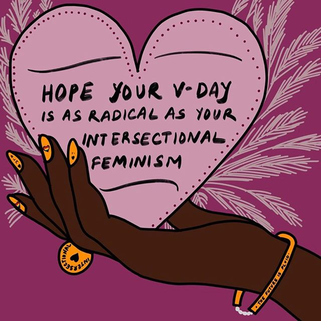 Hope your #Valentinesday is as radical as your #Intersectionalfeminism 💖 Art by @bydivya 👑