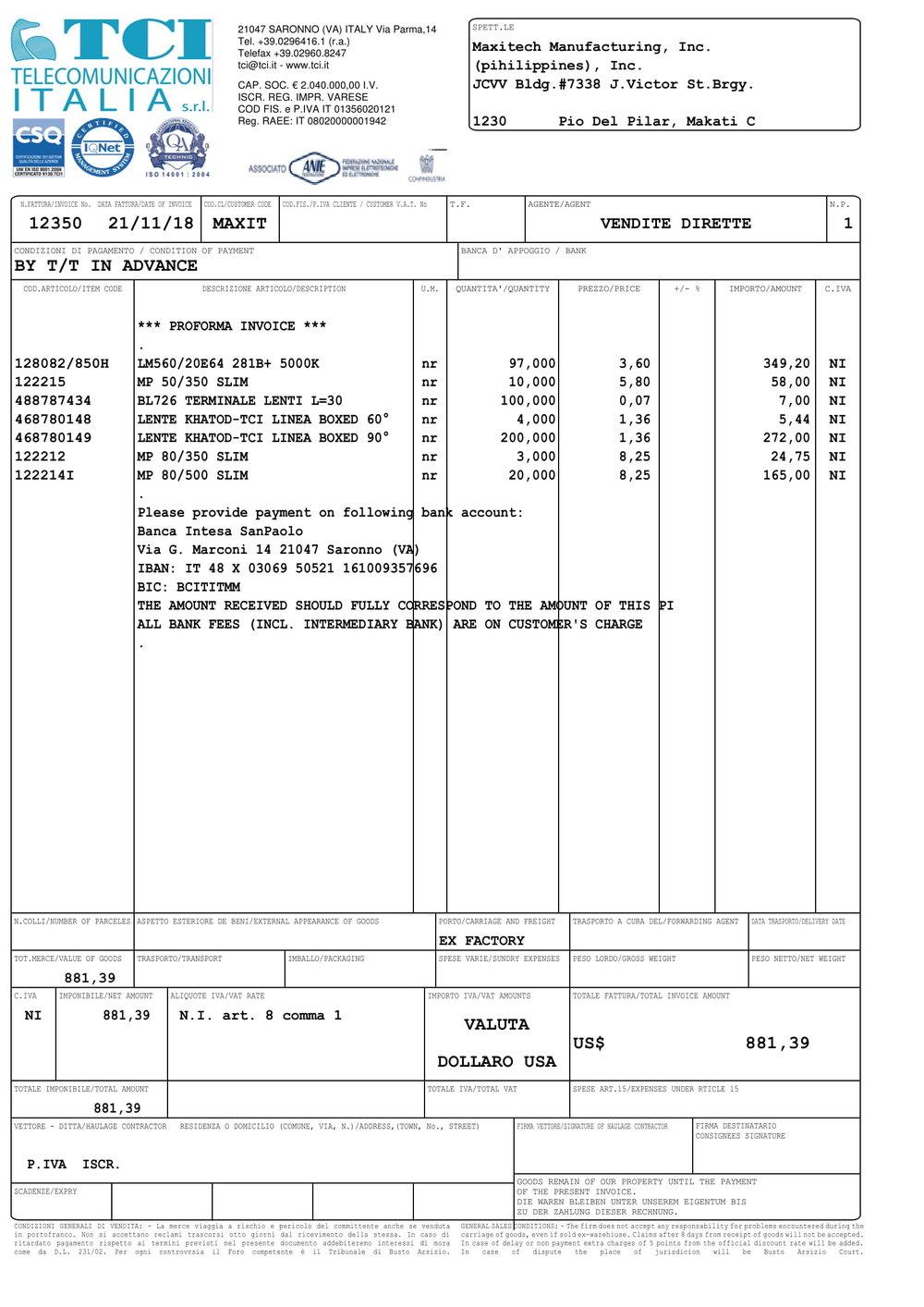 2018-0058 MMI PO2707 TCI — Maxitech Mfg , Inc