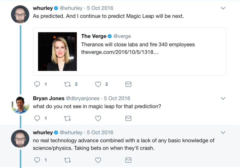 After 14 years of trying, Theranos is hemorrhaging money and employees, and are under criminal investigation. Magic Leap are looking at an $8 billion valuation and 162% growth over the last 2 years (source: Linkedin).