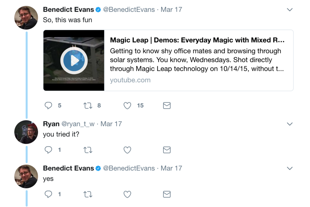 Benedict Evans, 'Partner' at Andreessen Horowitz (Magic Leap investor)