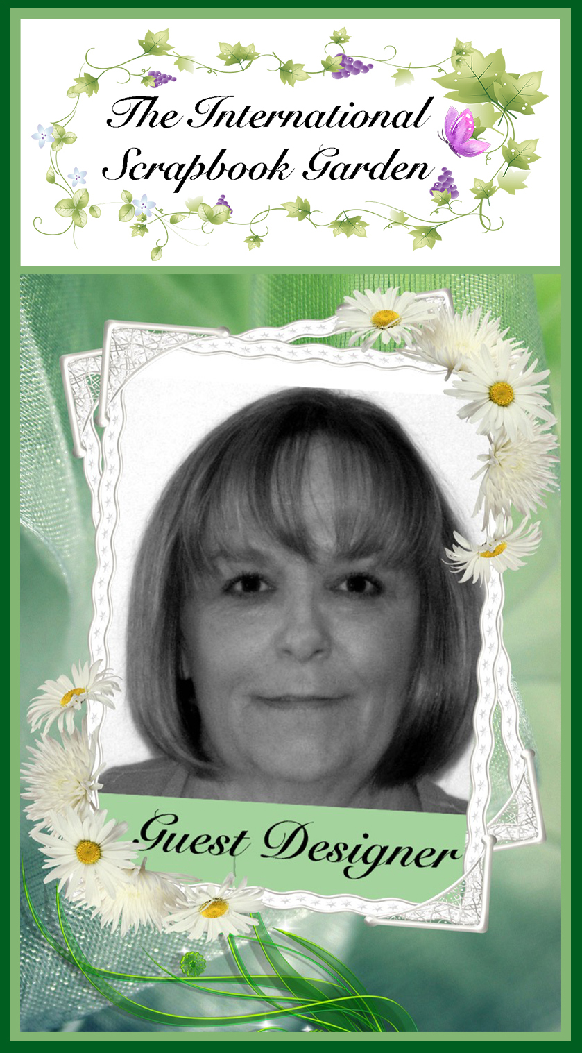 Debbie Burns - Hi everyone, my name is Debbie Burns and I'm excited to be guest designing for The International Scrapbook Garden.  I've been scrapbooking for 18 years.  I love to create shabby chic layouts incorporated mixed media.  I live in Maryland and am a single mom to two grown children and one precious dog.  By day I'm an Assistant Project Manager for a general contracting company specializing in commercial interior work.  It's a fast paced job and many long hours.  To unwind I love to scrapbook and work outside in my flower gardens.