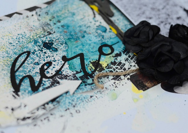 This is a combination of spray mists, acrylic paint, stamping, distressing and a die cut!!!