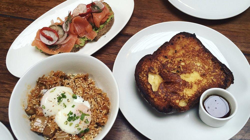 Clockwise: Smoked Salmon Tartine, Brioche French Toast, Kimchi Fried Rice