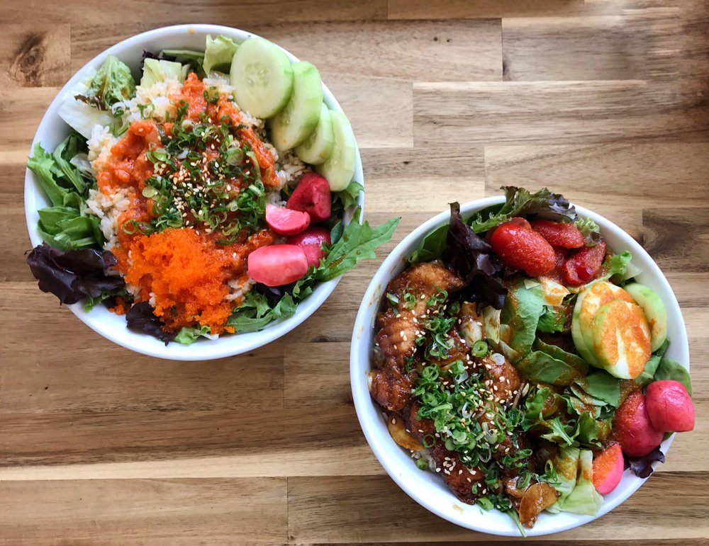 Spicy Salmon Rice Bowl and BBQ Catfish Bowl