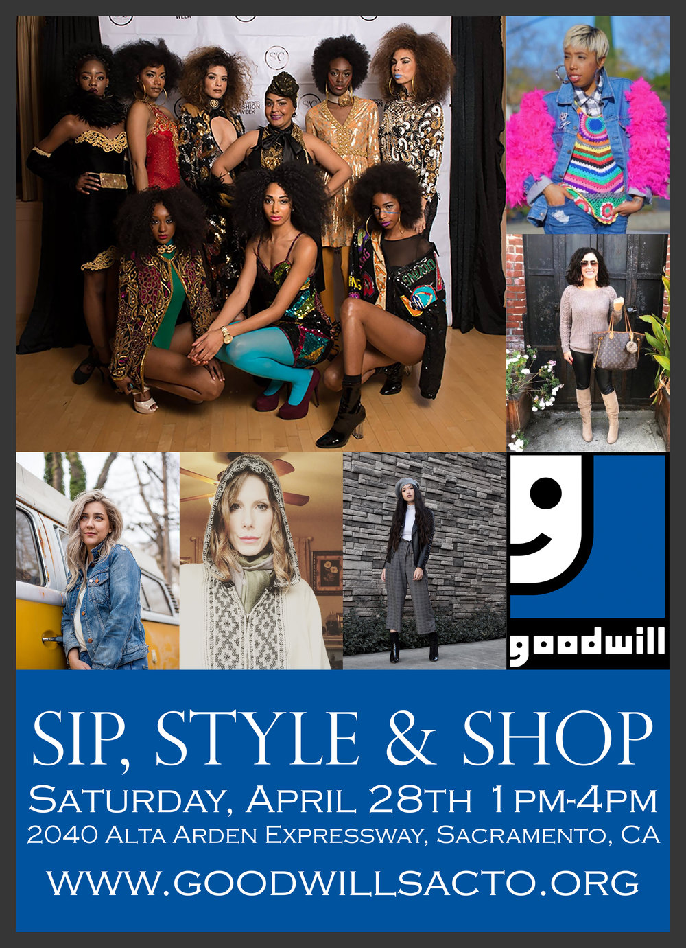 Sip, Style & Shop - This Spring our Co- Founder Keia Mae will partner with her local Goodwill stores and 5 other fabulous fashionistas to host an event Sip, Style & Shop.The event will be held at the Alta Arden Goodwill Location in Sacramento, CA. The participating stylist will represent many aspects of the fashion community: Bloggers, Stylist and Artist, who all have a general love for thrifting. Goodwill values these lovely ladies support of Goodwills mission as well as their thrifting expertise to promote eco-fashion style and be on hand to give advice to the Goodwill shopper, making fashion accessible to everyone and to break the stigma associated with thrifting. This is a free event and open to everyone, men, women and kids.Where: Goodwill Alta ArdenWhen: 4/28/18Time: 1-4