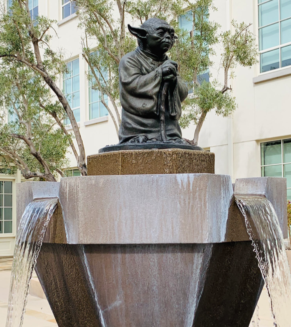 """No! Try not. Do, or do not. There is no try"" - Yoda Fountain at Lucas Films San Francisco"