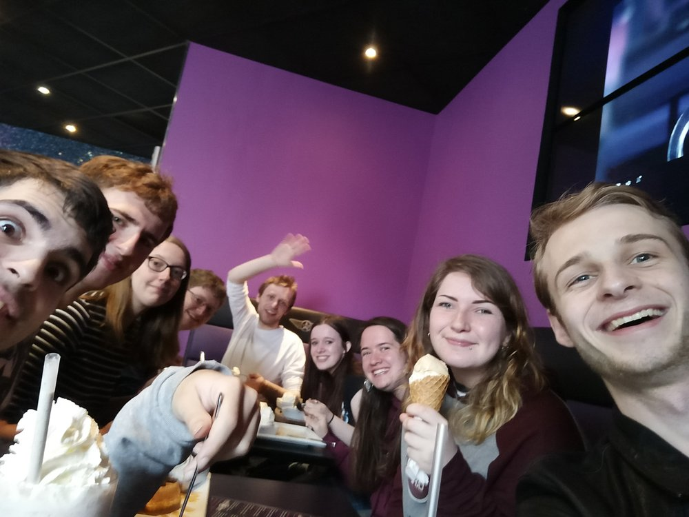 Post-exams Creams visit, featuring my deliriously tired self and a bevy of friends