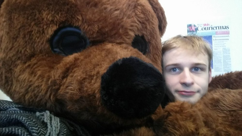 I worked with the Nightline group at Newcastle University, an anonymous support phoneline. Picture: I was Neville The Bear for a recruitment day, the mascot of the service.