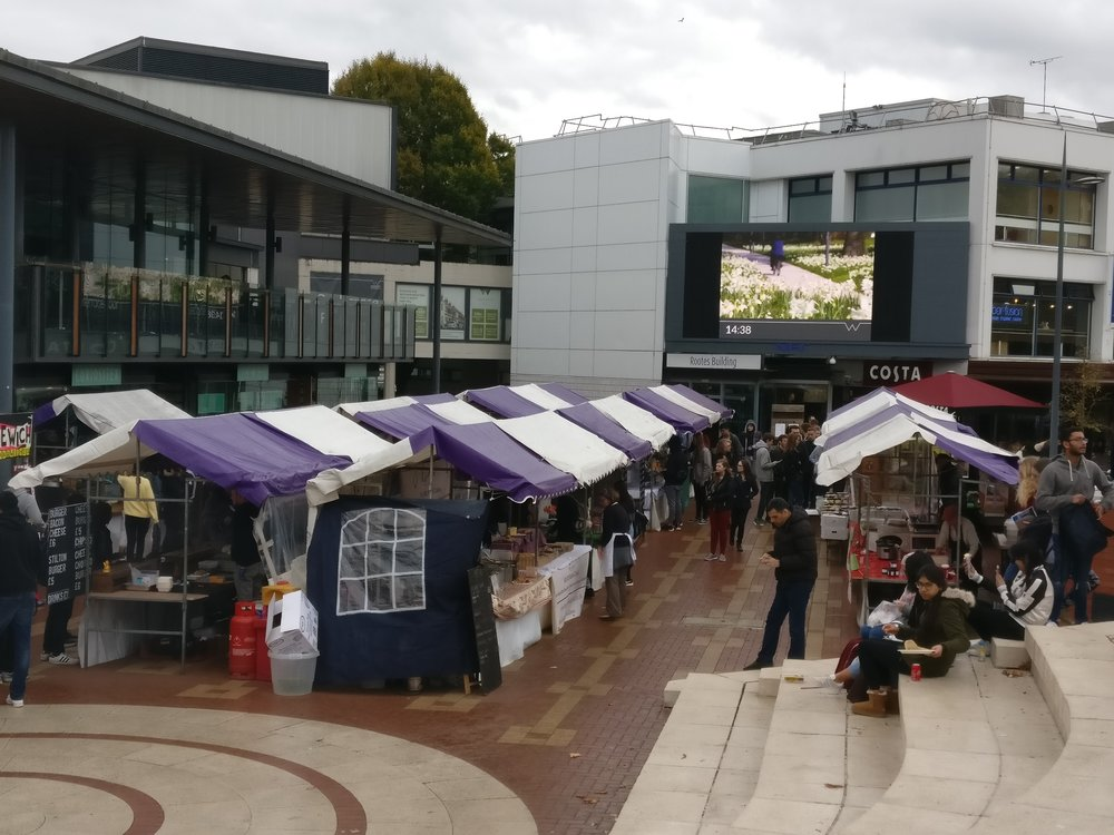 There seemed to be some sort of market going on around the quad in the afternoon