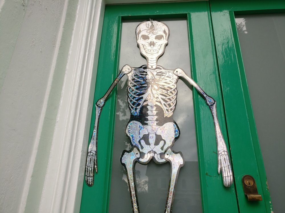 I don't have a thumbnail for today, so enjoy this unused photo of our Halloween decorations