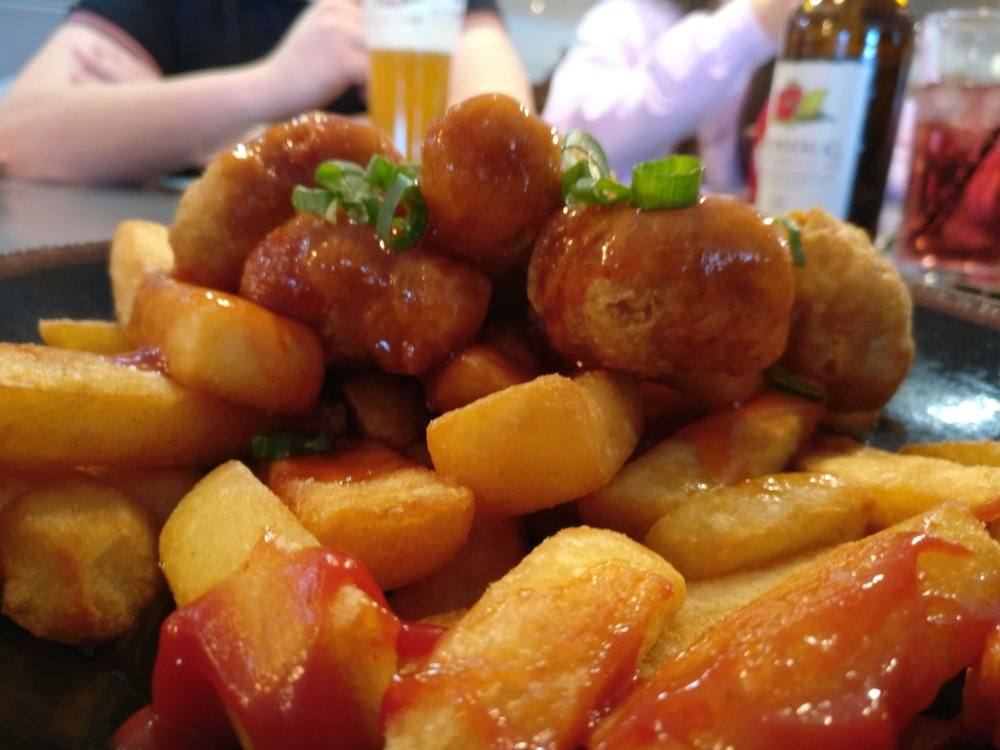 Battered chicken balls and chips (Bar Fusion)