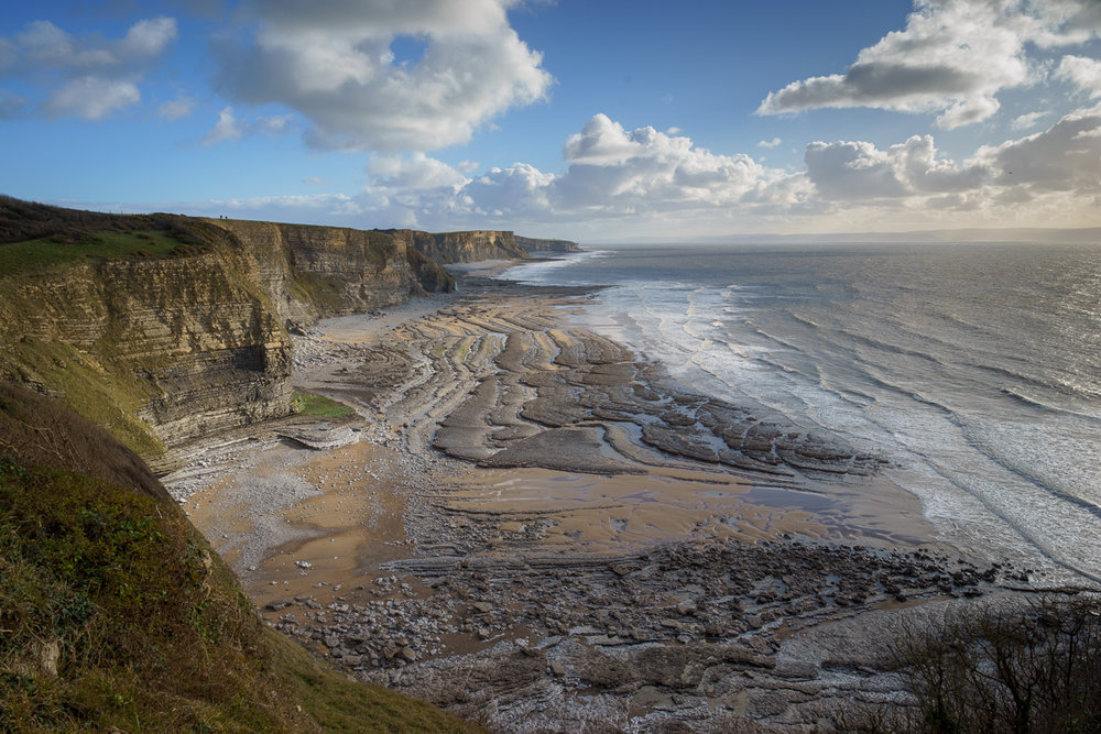 The breathtaking view of Southerndown beach from the clifftop
