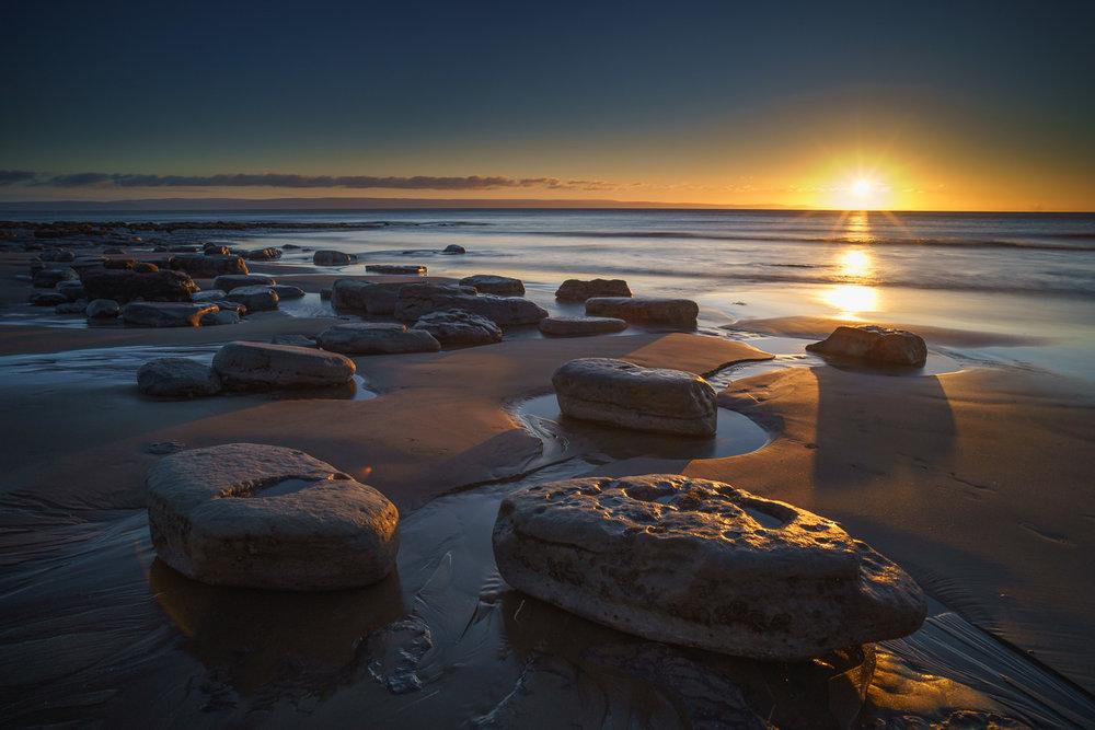 Boulders bathing in sunset light