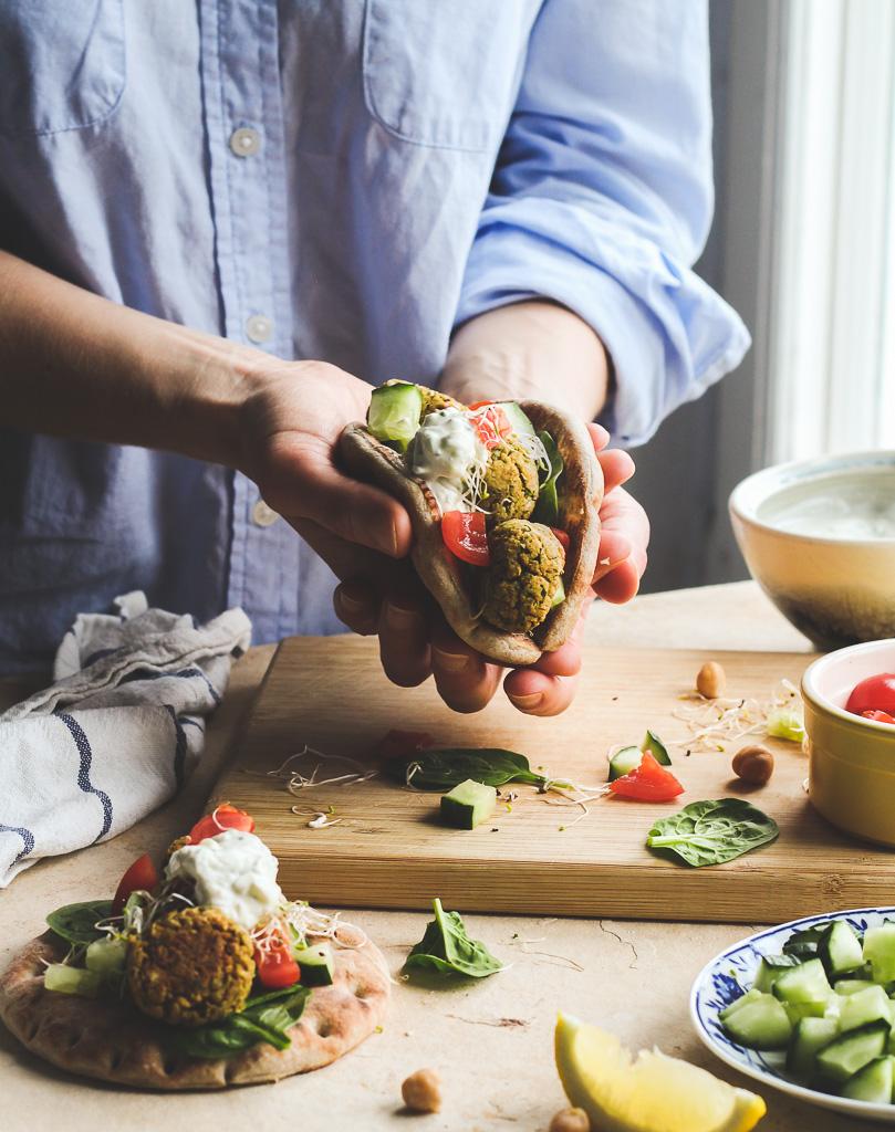 Oven Baked Falafel Wraps