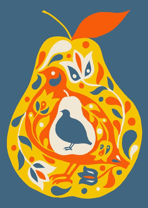 Partridge & Pear Christmas Card.  Artwork available as a print here.