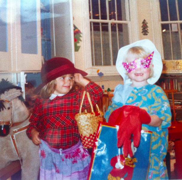 Elinor and I expressing our unique creativity at a young age.