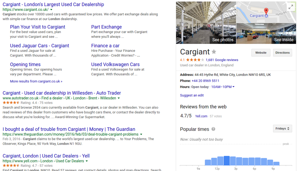 google my business listing results