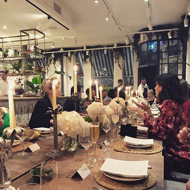 """Thanks to @motherofpearl for a gorgeous evening to celebrate their sustainable line 'No Frills' - they say """"It's our core best selling product realised with transparency and no hidden unnecessary social and environmental damage."""" Held at the stunning vegan restaurant @farmacyuk in London"""