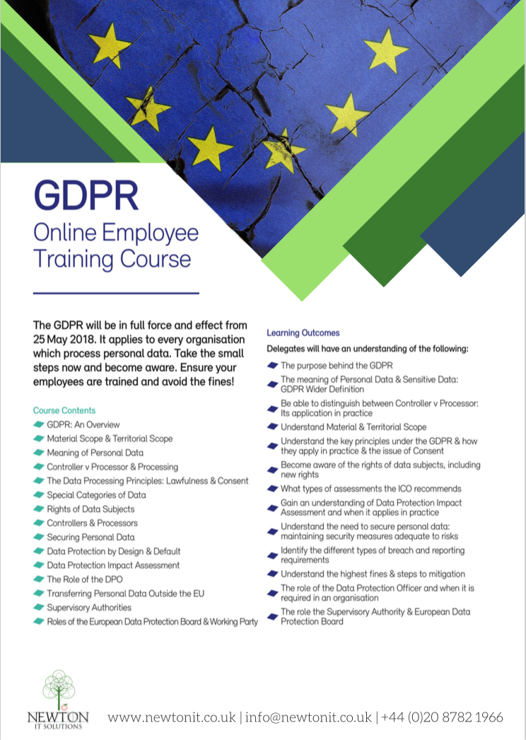 GDPR Online Employee Training Course Leaflet