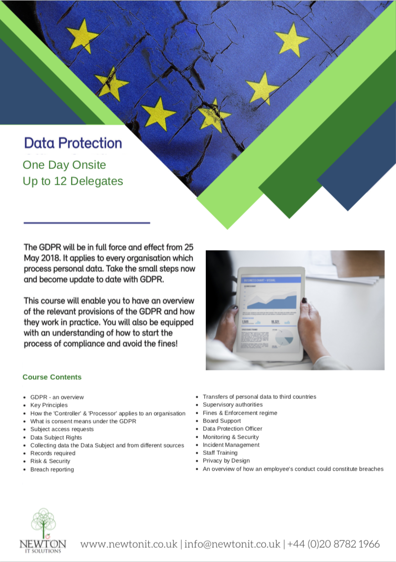 GDPR Onsite one Day Training Course Leaflet