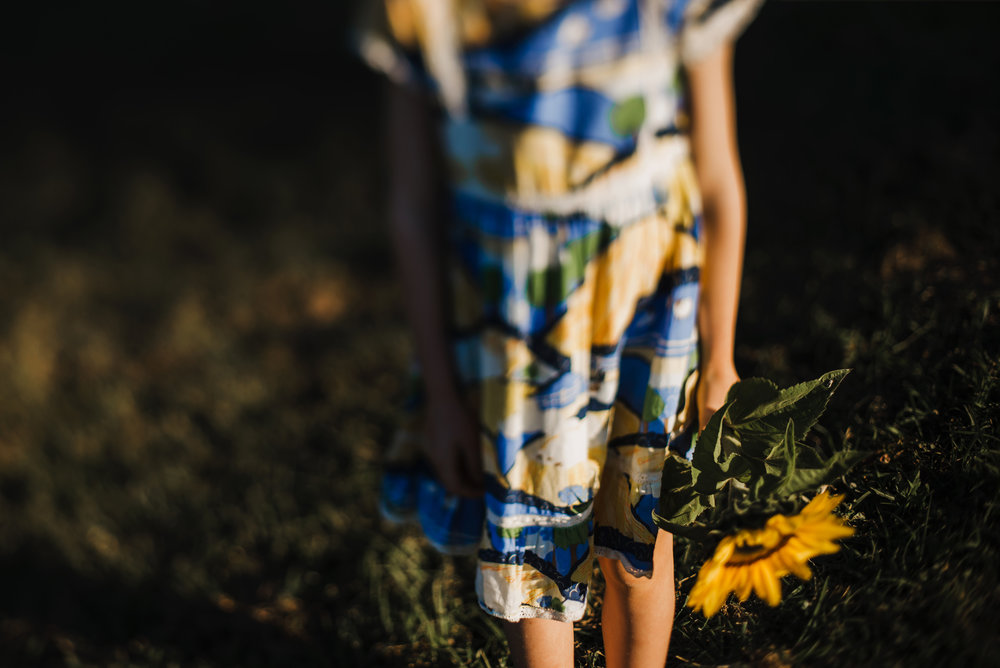 yellow and blue dress and sunflower