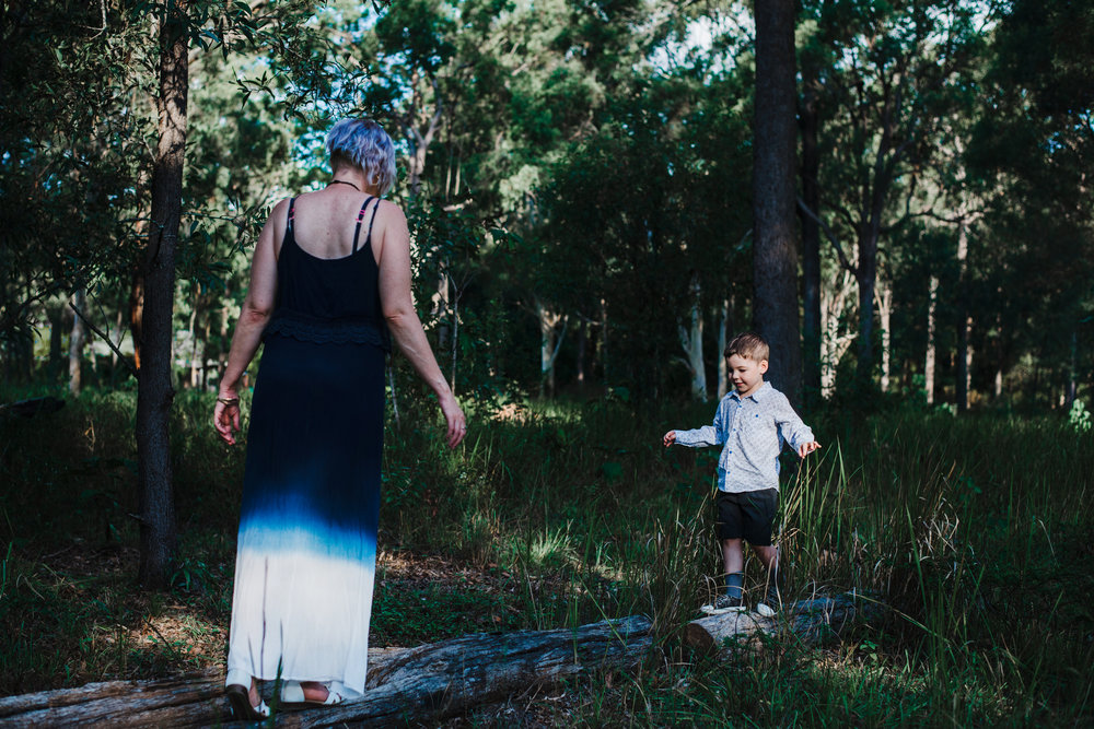 Mum and son playing in Brisbane bush