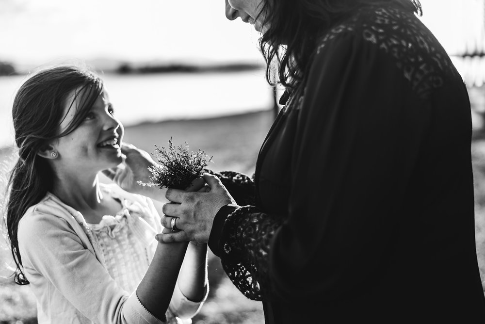 touching moment between mum and daughter