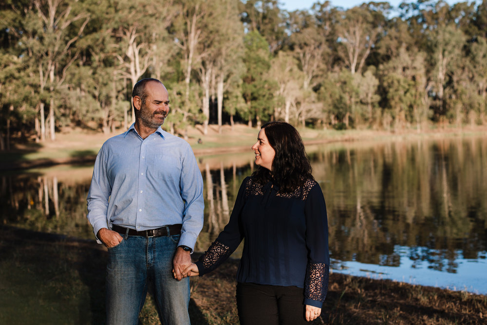 couple walking at Lake Samsonvale North of Brisbane