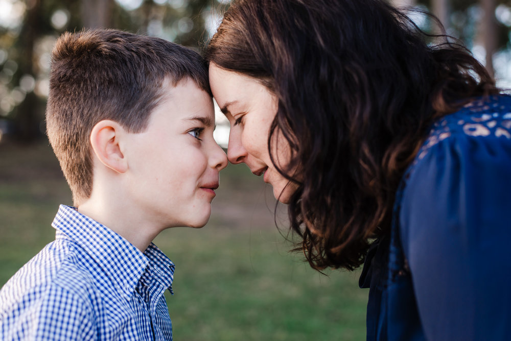 portrait of mum and son from Moreton Bay area
