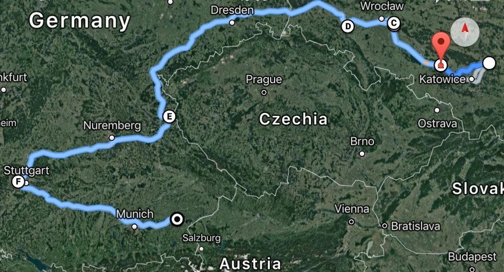 - Starting from his home town, Zawiercie, (white circle) Ernst passed through seven camps - Grünheide(A), Markstädt and nearby Fünfteichen(B/C), Grossrosen(D), Flossenbürg(E), Leonberg(F) and Mühldorf (black target).